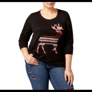 NWT style & co black reindeer sweatshirt 2X